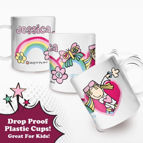 Personalised Bang on the Door Groovy Chick Plastic Cup